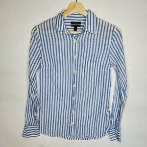 J.CREW Womens 0 Boy Fit Blue Striped Button